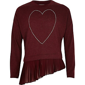 Girls burgundy heart asymmetric pleated top