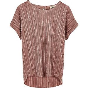 Mini girls metallic pink pleated top