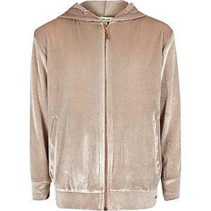 Girls pink metallic velvet zip up hoodie