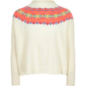Girls white fairisle knit jumper