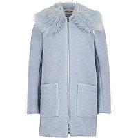 Girls light blue faux fur collar coat
