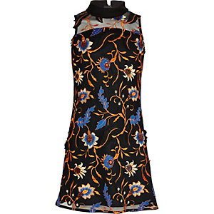 Girls floral embroidered mesh panel dress