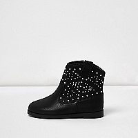 Mini girls black stud western boots