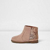 Mini girls camel metallic heel western boots