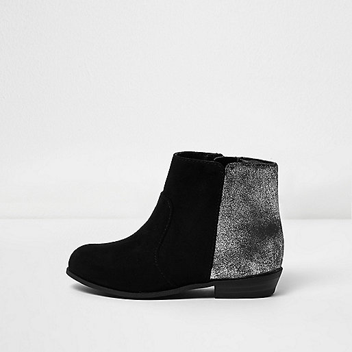 Mini girls black silver heel western boots