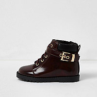 Mini girls red patent utility boots