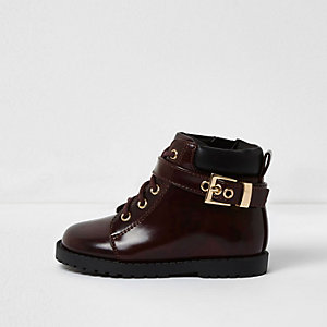 Bottines rouges vernies style fonctionnel mini fille