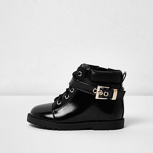 Mini girls black patent utility boots