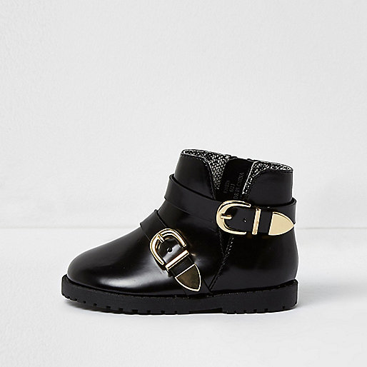 Mini girls black patent double buckle boots