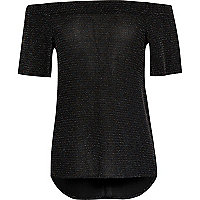 Girls black sparkly bardot top