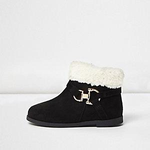 Mini girls black western borg boots