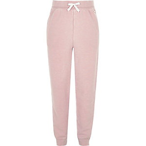 Girls pink washed high rise joggers