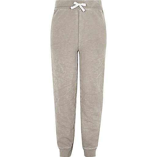Girls grey washed high rise joggers