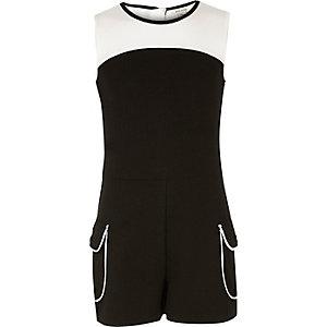 Combi-short colour block noir et blanc pour fille