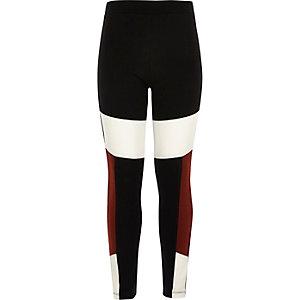 Girls black block high rise leggings