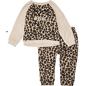 Mini girls brown leopard print joggers set