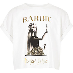 Girls white Barbie print cropped T-shirt
