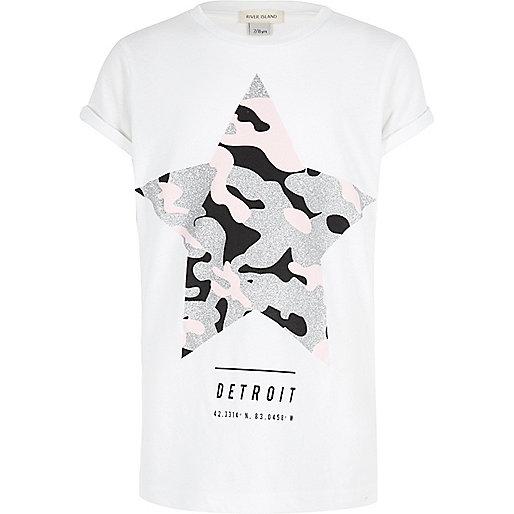 Girls white glam camo star T-shirt