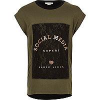 Girls khaki green print lace T-shirt