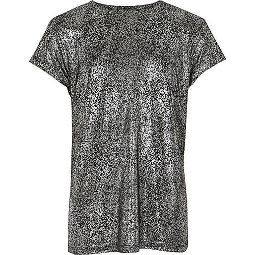 Girls black metallic T-shirt