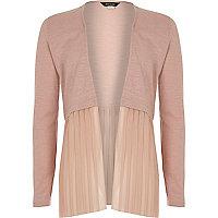 Girls light pink pleated cardigan