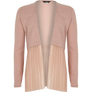 Girls light pink pleated cardigan