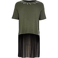 Girl khaki green contrast pleated T-shirt