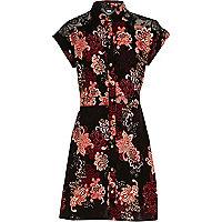 Girls black floral shirt dress