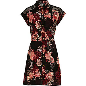 Girls black floral shirt dress