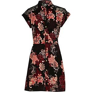Robe chemise à fleurs noire pour fille