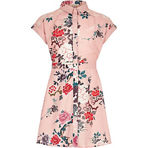Girls pink print shirt dress