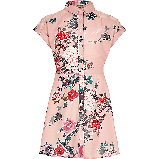 Girls pink print shirt dress