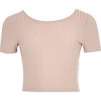 Girls blush pink ribbed crop top