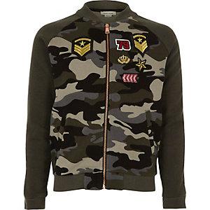 Girls khaki camo badge bomber jacket