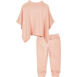 Mini girls peach poncho and jogger set