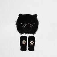 Ensemble avec bonnet noir motif chat mini fille