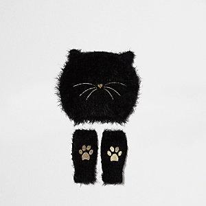 Mini girls black fluffy cat beanie set
