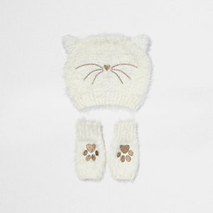 Mini girls cream fluffy cat beanie set