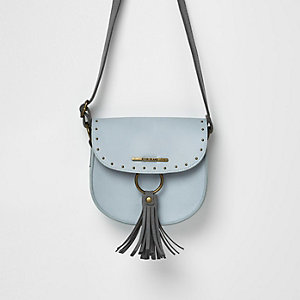 Girls blue tassel stud saddle bag