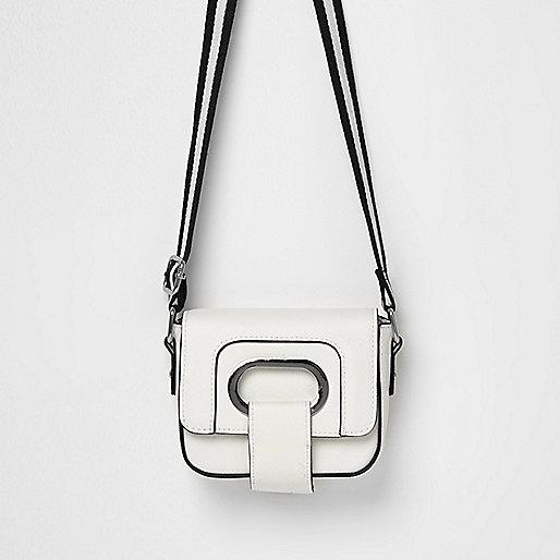 Girls cream boxy foldover bag