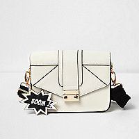 Girls white satchel bag with animated tags