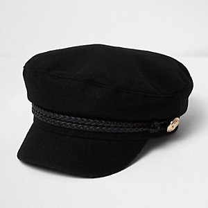 Girls black captain's hat