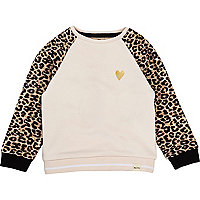 Mini girls pink leopard sleeve jumper