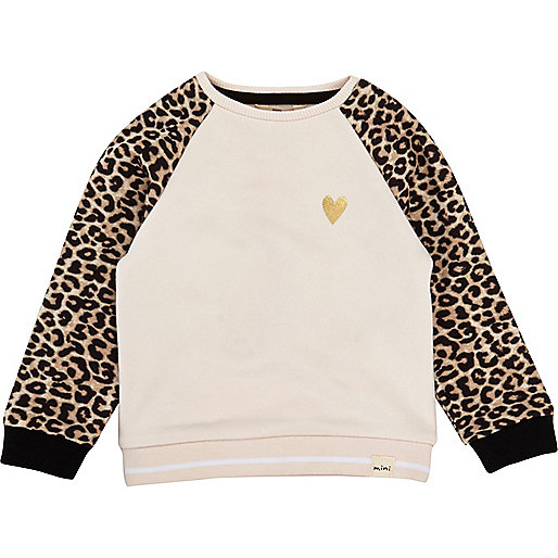 Mini girls pink leopard sleeve jumper
