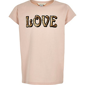 Girls light pink sequin print T-shirt