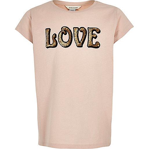 Girls light pink sequin print T-shirt