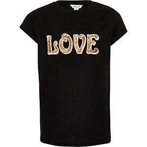 Zwart T-shirt met print en lovertjes voor meisjes