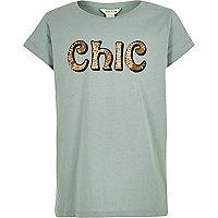 Girls green sequin print T-shirt