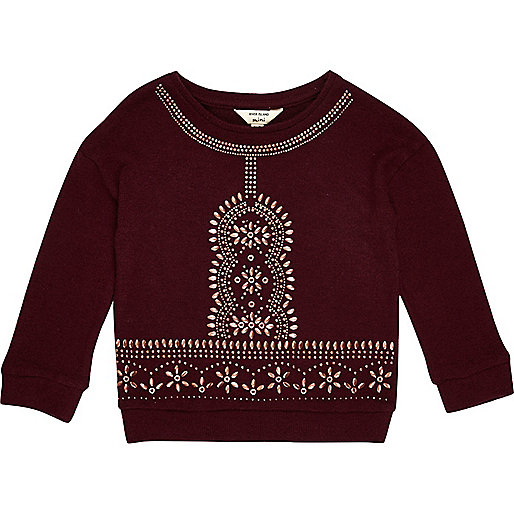 Mini girls berry red embellished top