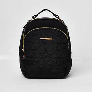 Girls black quilted backpack